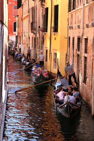 Italy, Venice - 13 June 2019: Gondolas in a narrow street of Venice