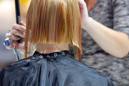 Hairdresser trimming blond hair with scissors at the hair salon