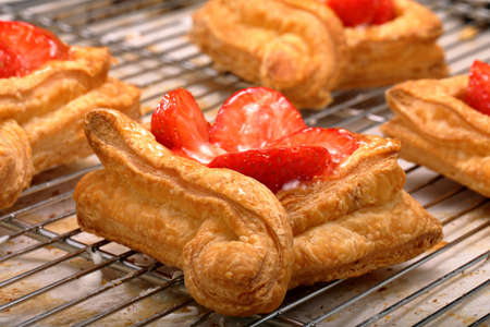 Sweet puff pastry with cream and fruit with empty space for text
