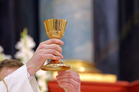Chalice in the hands of the priest on the altar during the celebration of the mass and empty space for text