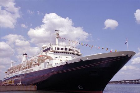embark: Vintage ocean liner docked before cruise from Tampa, Florida