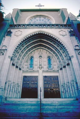 extreme angle: Low angle perspective of church entrance in Orlando, Florida Stock Photo