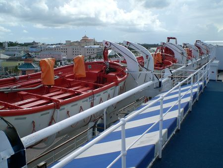 Lifeboats on a cruise ship in Nassau, Bahamas photo
