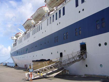 Vintage cruise ship at port in Nassau, Bahamas photo