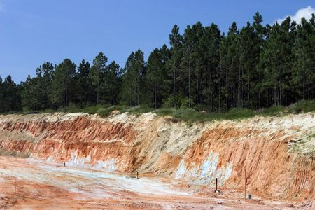strata: Strata of rock and dirt with trees on road construction project