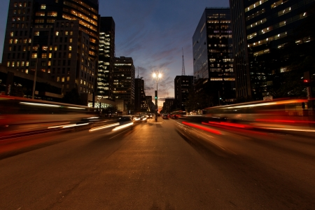 urbanization: Avenida Paulista night traffic Sao Paulo Brazil Stock Photo