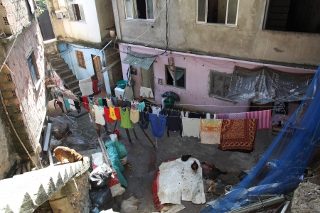 slum: RIO DE JANEIRO BRAZIL - JUNE 17 2011: High Angle view of favela Rocinhas slums Editorial