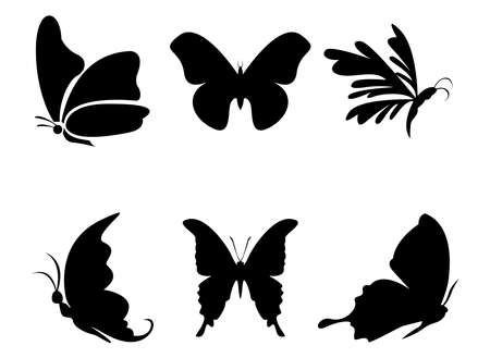 Collection of butterfly silhouettes, vector illustrations, icons and logos