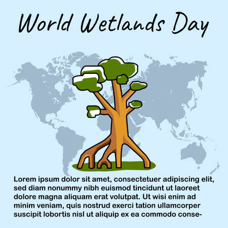World Wetlands Day posters, backgrounds, pictures. vector eps 10