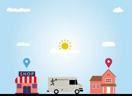 Vector illustration, delivery service, delivering goods by car from shop to location, perfect for business, National Postal Worker Day, eps 10