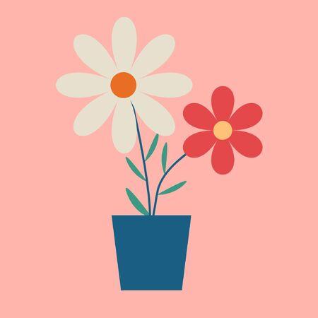 Daisy Flower Vector On Pink Background. Beautiful Flower. 矢量图像