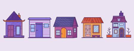 House set front view. Home icon collection vector. City Street flat design. Urban streetscape. Vector houses. Cartoon exterior architecture, touristic place, facade for illustration of business/ town-planning project, background for any cartoon scene