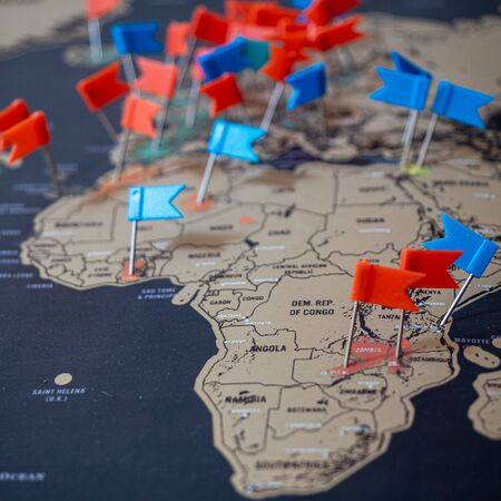 Map of Africa with little flags