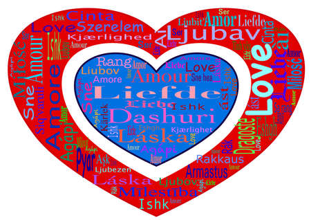 Word cloud with the word love in different languages (for example :die, amor, amour, Liebe, amore) on transparent background. Hearts are colored in the colors of the Dutch flag: red, white, blue