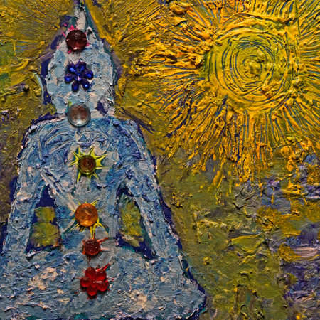 Buddha in the sun with the seven chakras. The painting is made with roughly applied acrylic paint. Colored acrylic stones were used for the chakras Standard-Bild