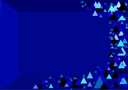 Abstract geometric background. Modern.Overlapping triangles in black and different shades of blue. Dark blue background with triangles