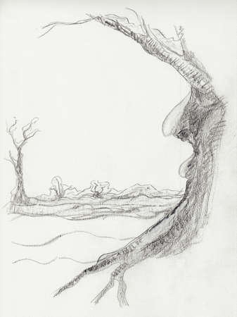 Pencil drawing of a deciduous tree in winter. Winter landscape. Leafless tree. In the tree is a face visible