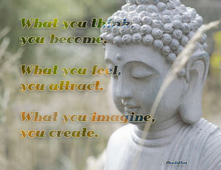 "Inspirational quote from Buddha about the mind. ""What you think, you become. What you feel, you attract. What you imagine, you create."""