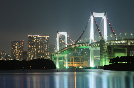 レインボー ブリッジと東京市の夜景 写真素材