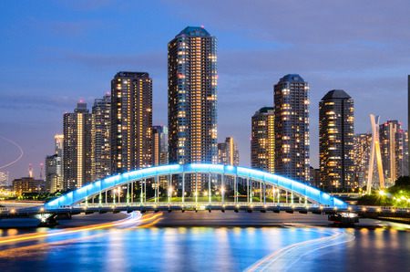 東京の街並、隅田川夕暮れ 写真素材