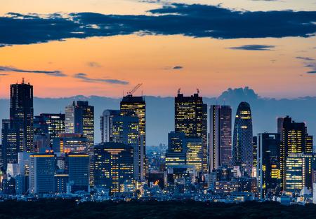 夕方には新宿のスカイラインの眺め