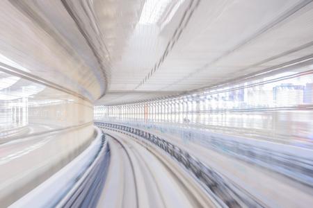 日本の鉄道のトラックのモーション ブラー 写真素材