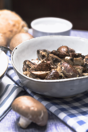 Brown mushrooms Steamed - Close up Stock Photo