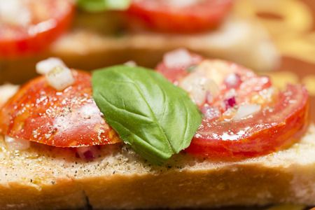 Country bread with black zebra tomato and olive oil