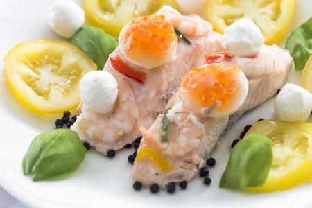 Yellow brandywine tomatoes with salmon