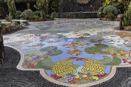 Mosaic works by Luis Morera at Plaza La Glorieta in the town of Las Manchas, La Palma, Canary Islands.