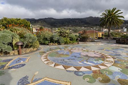 Mosaic works by Luis Morera at Plaza La Glorieta in the town of Las Manchas, La Palma, Canary Islands