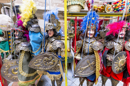 Sicilian knight puppets with metal armor in Palermo Editorial