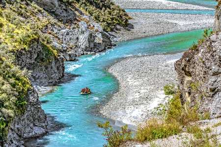 Canyon with the Shotover River on Skippers Canyon Road north of Queenstown at the Otago region on the South Island of New Zealand