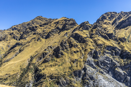 New Zealand South Island - Maori Point on the Shotover River on the Skippers Canyon Road north of Queenstown in the Otago region Standard-Bild - 127443766