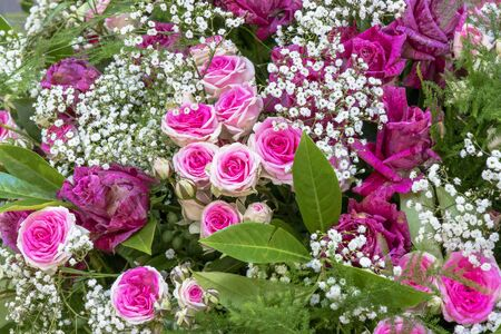 Bouquet with pink roses and gypsophila Standard-Bild - 127443913