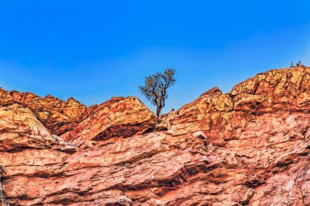 Canyon of the Simpsons Gap at the West MacDonnell Ranges National Park at the Northern Territory of Australia at Alice Springs Standard-Bild - 127444215