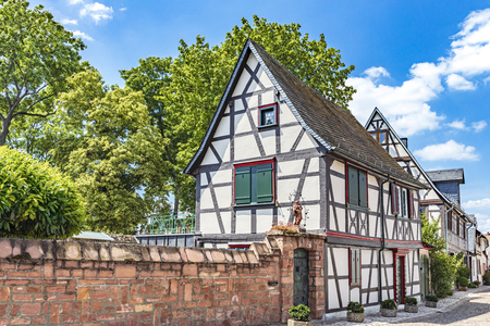 Half-timbered houses in Burgstrasse in Eltville on the Rhine