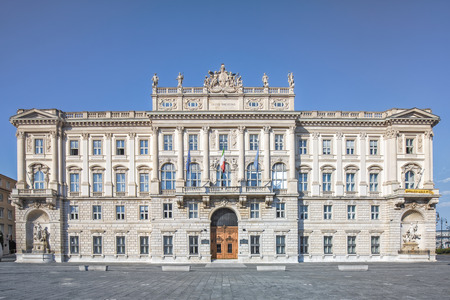 Palace of the Lloyd Triestino shipping company located in Piazza dell'Unit? d'Italia in Trieste Редакционное
