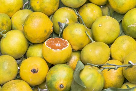 Yellow ripe Sicilian citrus fruits sold on a local market
