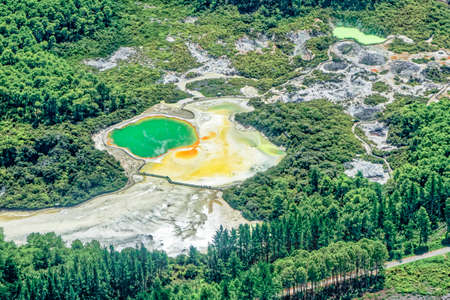Aerial view of the Wai-O-Tapu geothermal area with the Champagne Pool south of Rotorua on the North Island of New Zealand Stock fotó