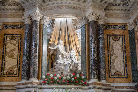 Rome, Italy - October 14, .2020: The Ecstasy of Saint Teresa by Bernini in the church Santa Maria della Vittoria in Rome Editorial