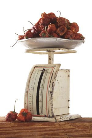 red gram: old scale with pepper Stock Photo