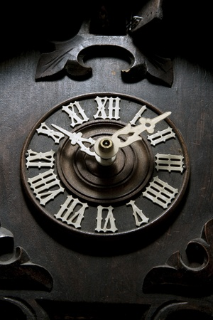 Clock face from a old cuckoo clock photo
