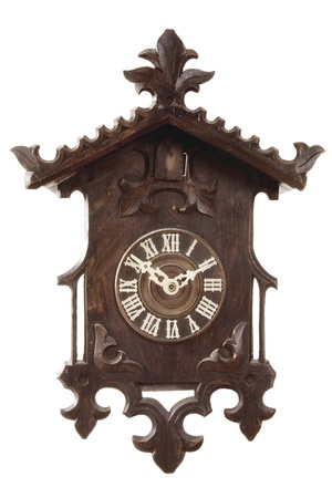 wooden clock: a old cuckoo clock from the black forest