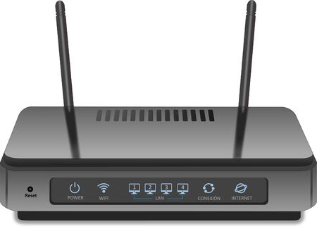 router for internet connection with 2 antennas gray color