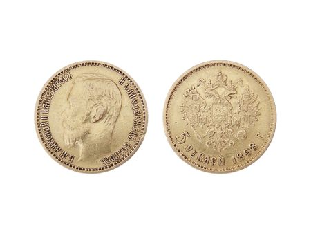 obverse: obverse and reverse of age-old golden 5-ruble coin of tsarist Russia, 1898, against white background Stock Photo
