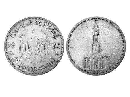 fascist: obverse and reverse of age-old 5-reichsmark silver coin, 1935, fascist Germany. My wifes grandfathers trophy. Made in grayscale.