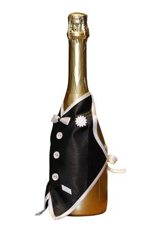 Golden bouteille de champagne, habill� en gilet du noir serveur isol� sur fond blanc Banque d'images - 4334020