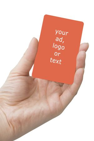 which: hand holding blank red card which is copy space, isolated on white background