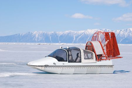 amphibia: propeller sleigh amphibia at frozen Baikal ice Stock Photo